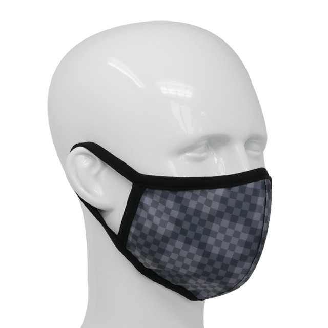 Premium fabric face mask check pattern grey
